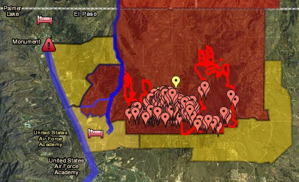 Colorado Springs Wildfire Map - Black Forest fire, Royal Gorge, Big