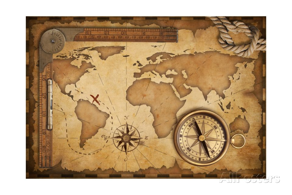 Aged Treasure Map Ruler Rope And Old Brass Compass Still Life Posters Andrey Kuzmin Allposters Com In 2020 World Map Tattoos Map Compass Old Map