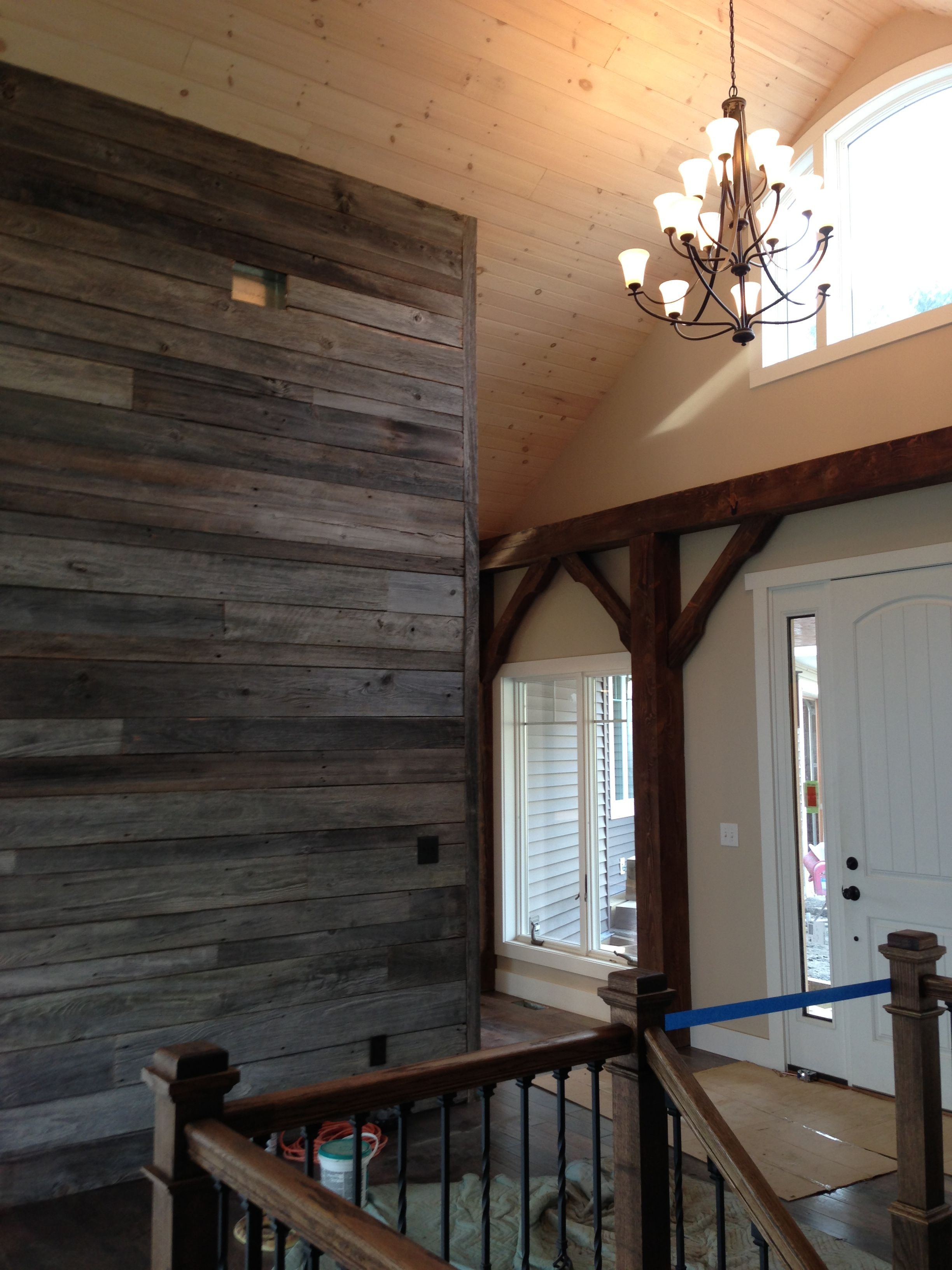 Reclaimed Barnwood Accent Wall In Entry Way Of Beam Timber Frame House Built By Www Benedictbarns