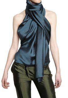 HAIDER ACKERMAN Scarf Collar Silk Shantung Top