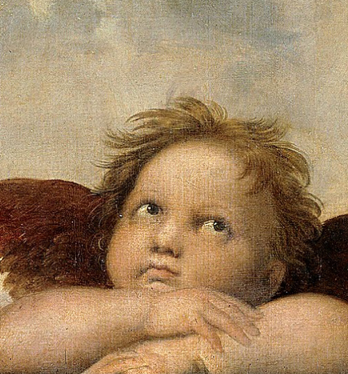 "Detail of the masterpiece ""Sistine Madonna"" - Raphael."