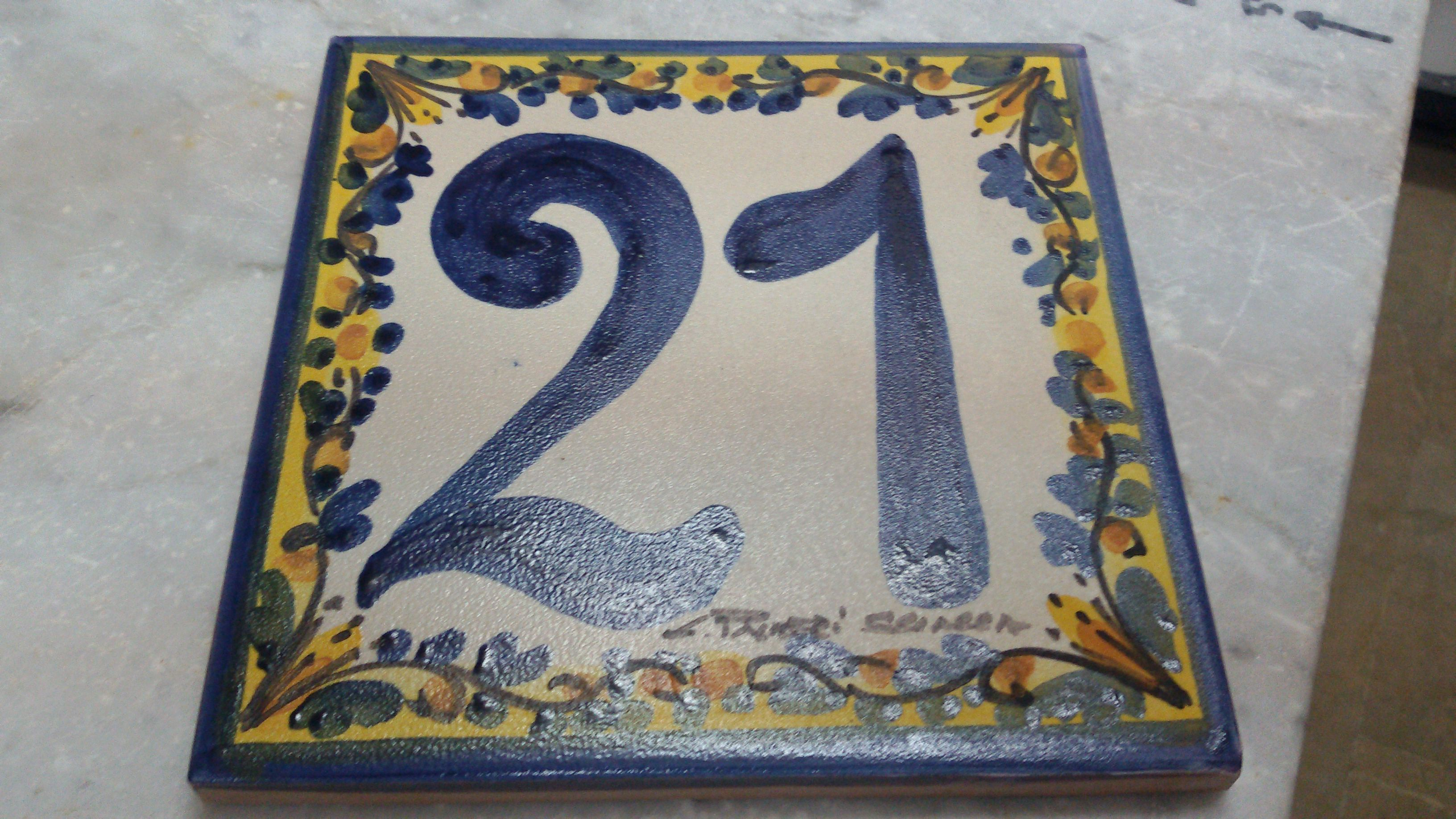Numeri civici assortiti ceramiche artistiche liborio palmeri