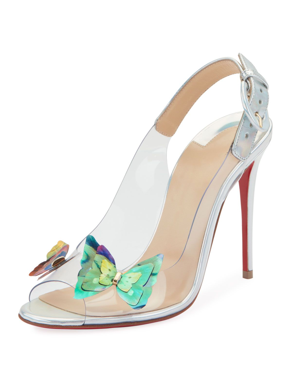 b4458615ea0f Ilcepoze 100 See-Through Red Sole Pumps with Butterfly