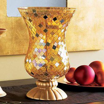 Windlichtglas Mosaik, Gold