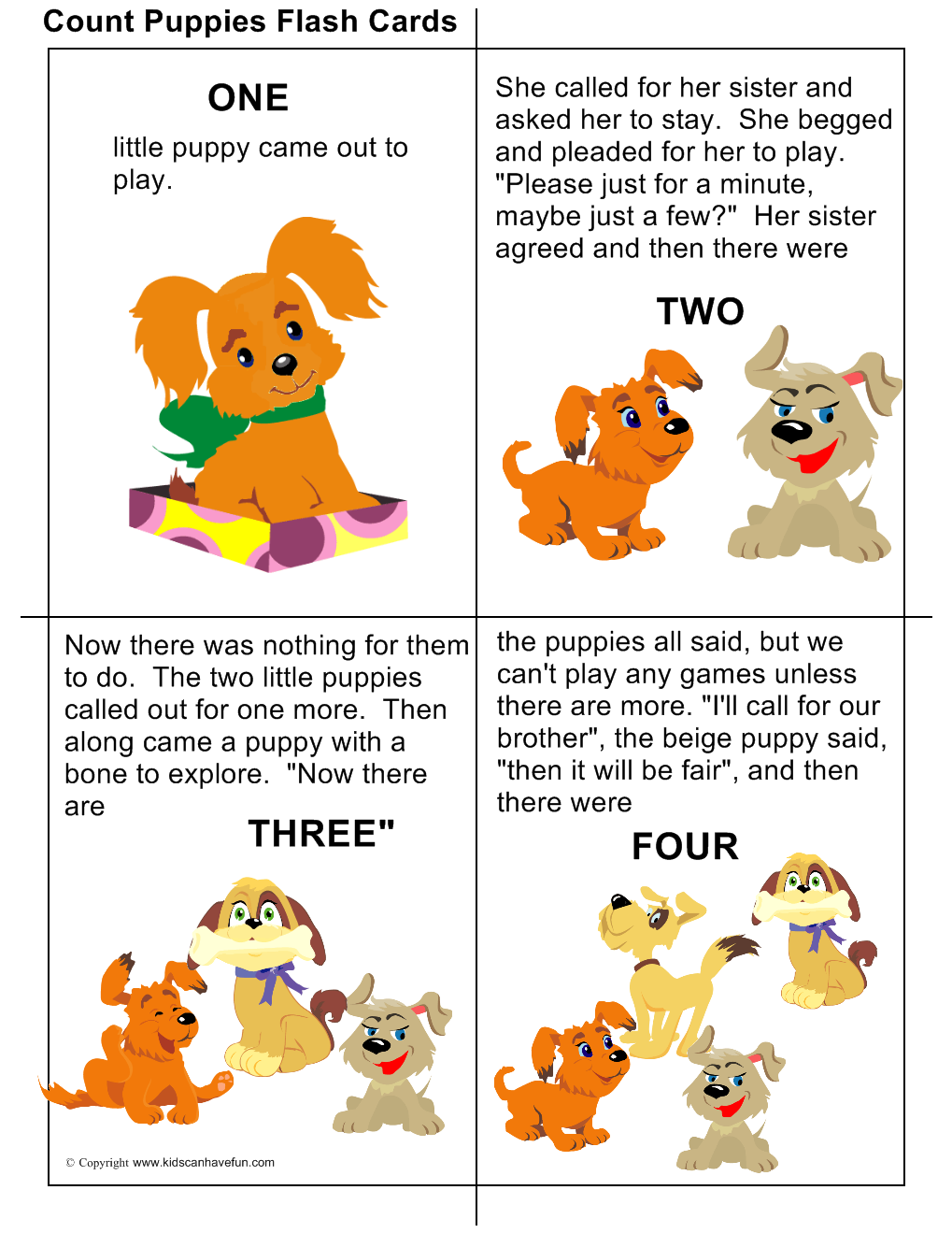 DIY Count Puppies #Flashcards with rhyming words. Teach kids how to ...