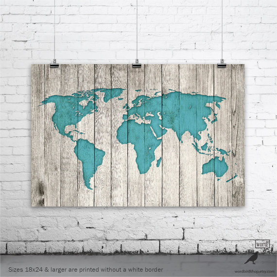 Rustic wood world map rustic decor farmhouse by cherrytreegallery rustic world map poster large map of the world turquoise map on wood look gumiabroncs Images