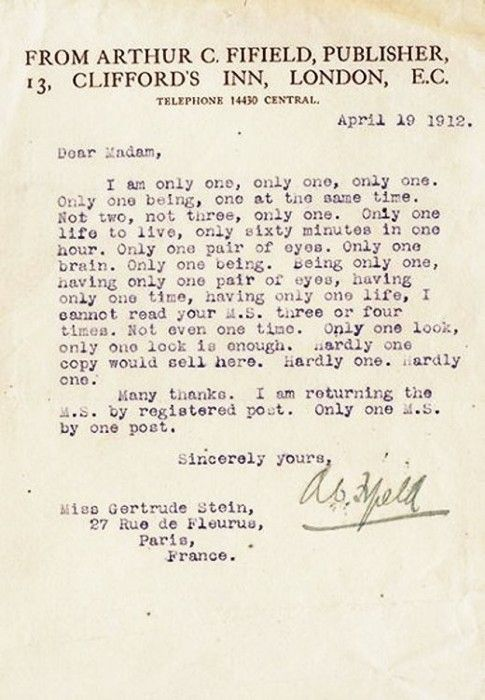 Gertrude SteinS Rejection Letter WwwArtexperiencenycCom
