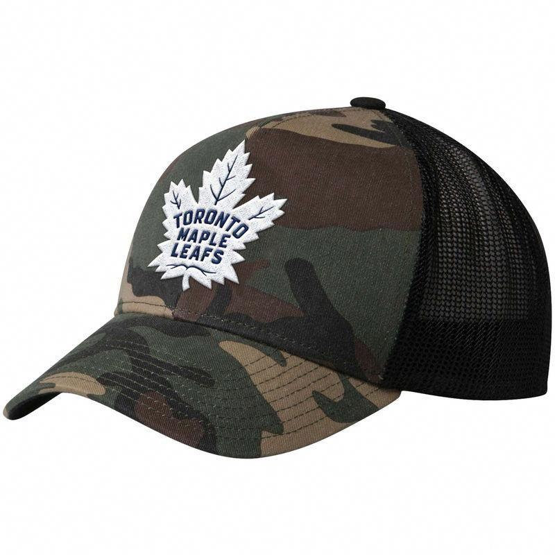 c8d3b9925aa Toronto Maple Leafs adidas Trucker Adjustable Hat – Camo Black   TorontoPhotography