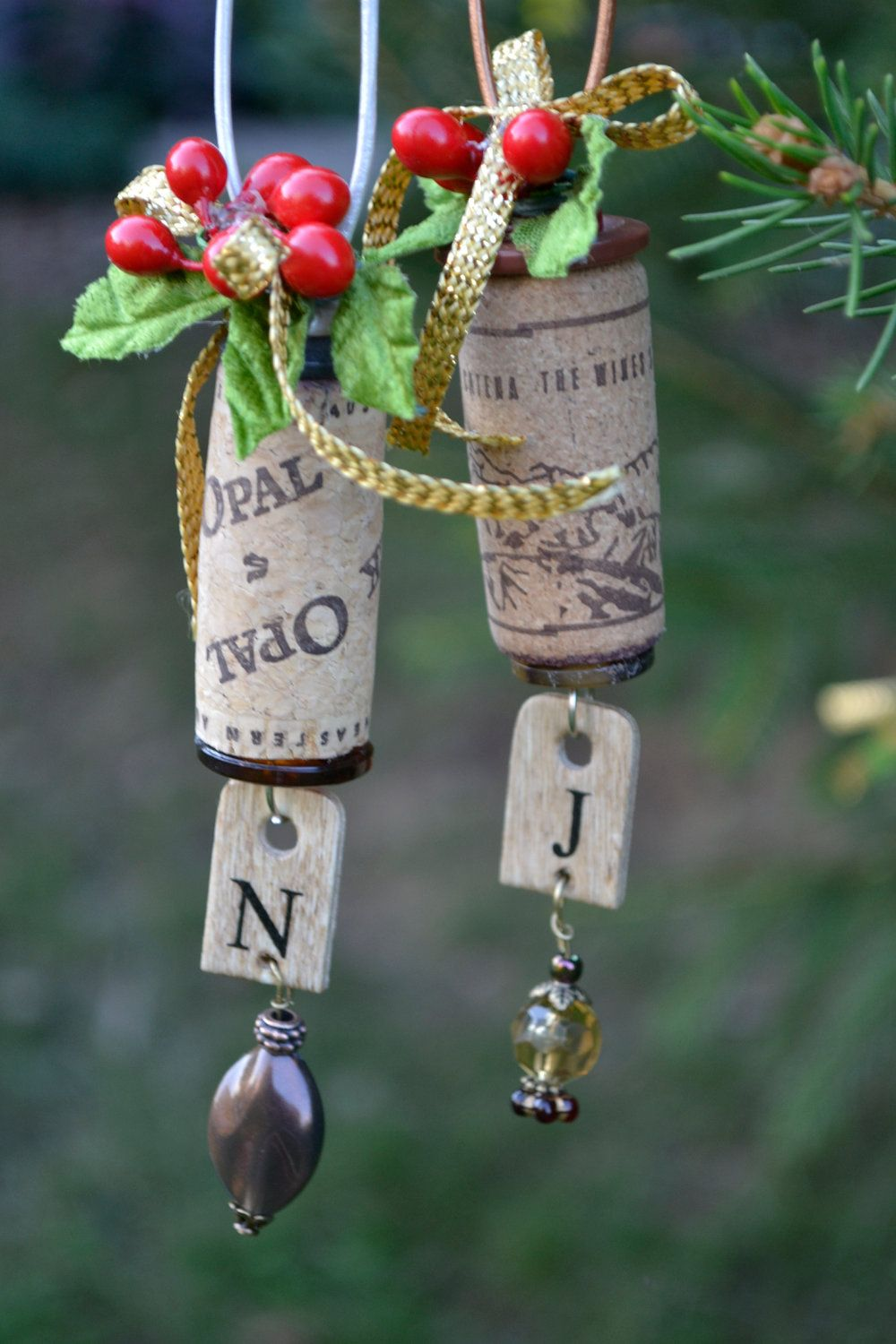Beautiful and Unique Wine Cork Ornament with Initial