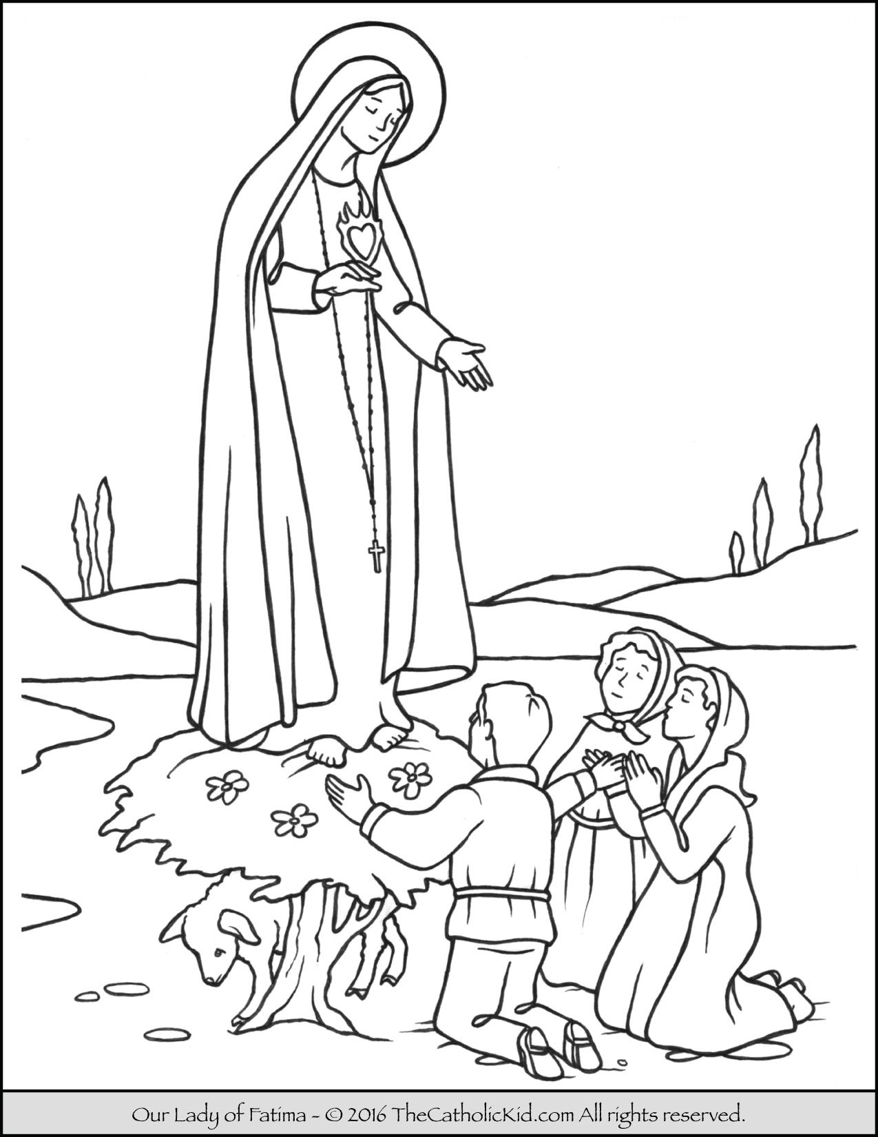 Our Lady Of Fatima Coloring Page Thecatholickid Com Catholic
