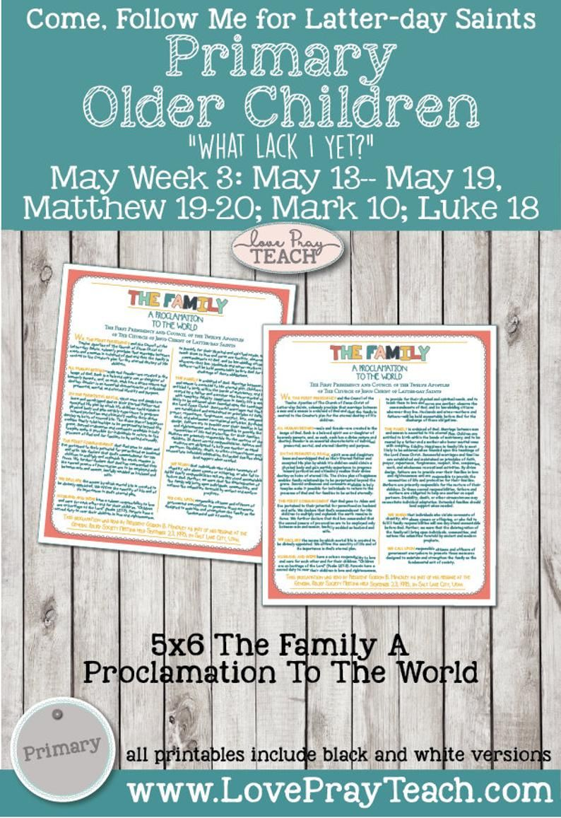 Come Follow Me for Primary 2019 New Testament May Week 3 May 13