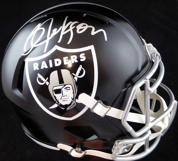 Bo Jackson Autographed Oakland Raiders Black Blaze Full Size Speed Replica Helmet Beckett BAS