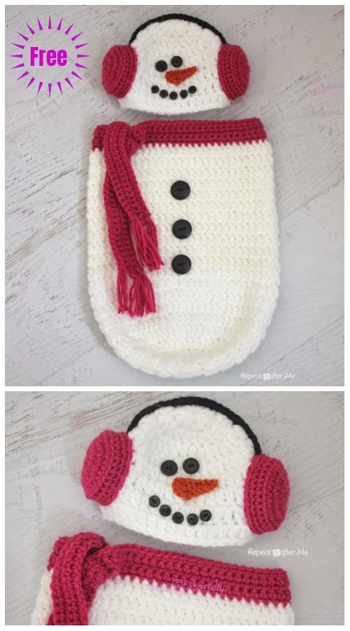Christmas Crochet Snowman Baby Cocoon Free Crochet Pattern & Paid #crochetbabycocoon
