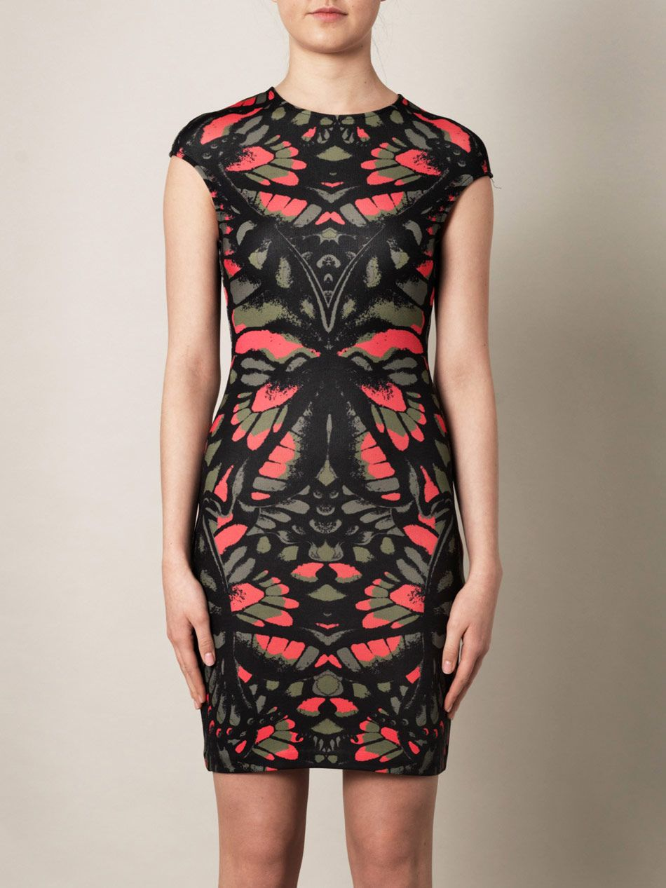 McQ Alexander McQueen Butterfly-print mini dress for women Another  statement style from McQ Alexander McQueen; the label'€™s signature prints  this .