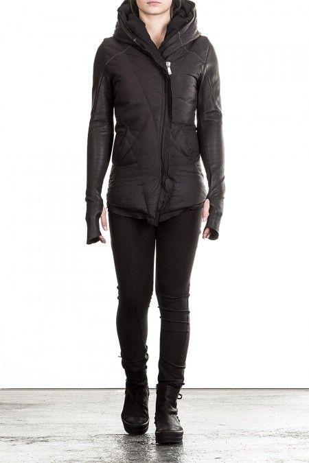10sei0otto Damen Leder Daunenjacke mit Kapuze schwarz