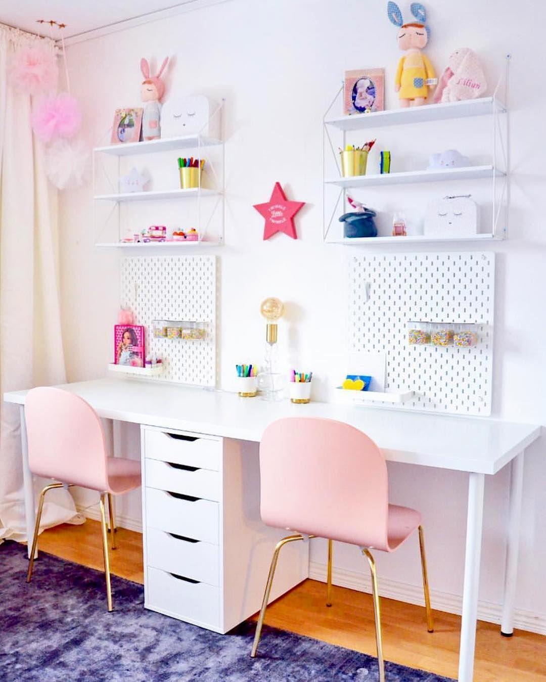 Project Junior On Instagram Cutest Double Desk Situation From Inspo By Israa Projectjunior Desk Kids Room Desk Shared Girls Bedroom Shared Girls Room