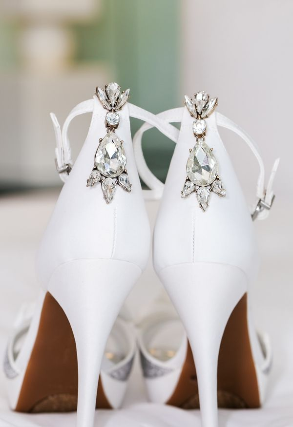 Glam Bedazzled Bridal Shoes Bright White Heels Pumps Modern Style