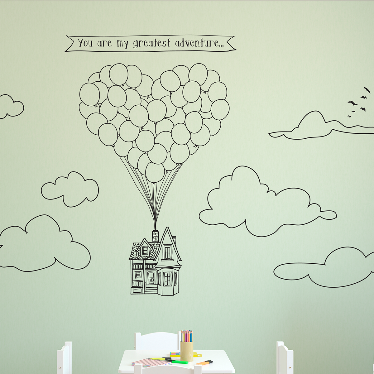 """Up, up, and away! This adorable decal is for the adventurous soul and is sure to brighten any room. It's a perfect gift for children, or just about any fan of the Pixar film. This decal comes with a banner quote (""""You are my greatest adventure..."""") and a pack of doodled accessories (6 clouds + tiny flock of birds) to complete the miniature scene! Each item is a separate piece, so that you can arrange the scene to perfectly fit your space! Dimensions (also available on fourth image tab): Balloon"""