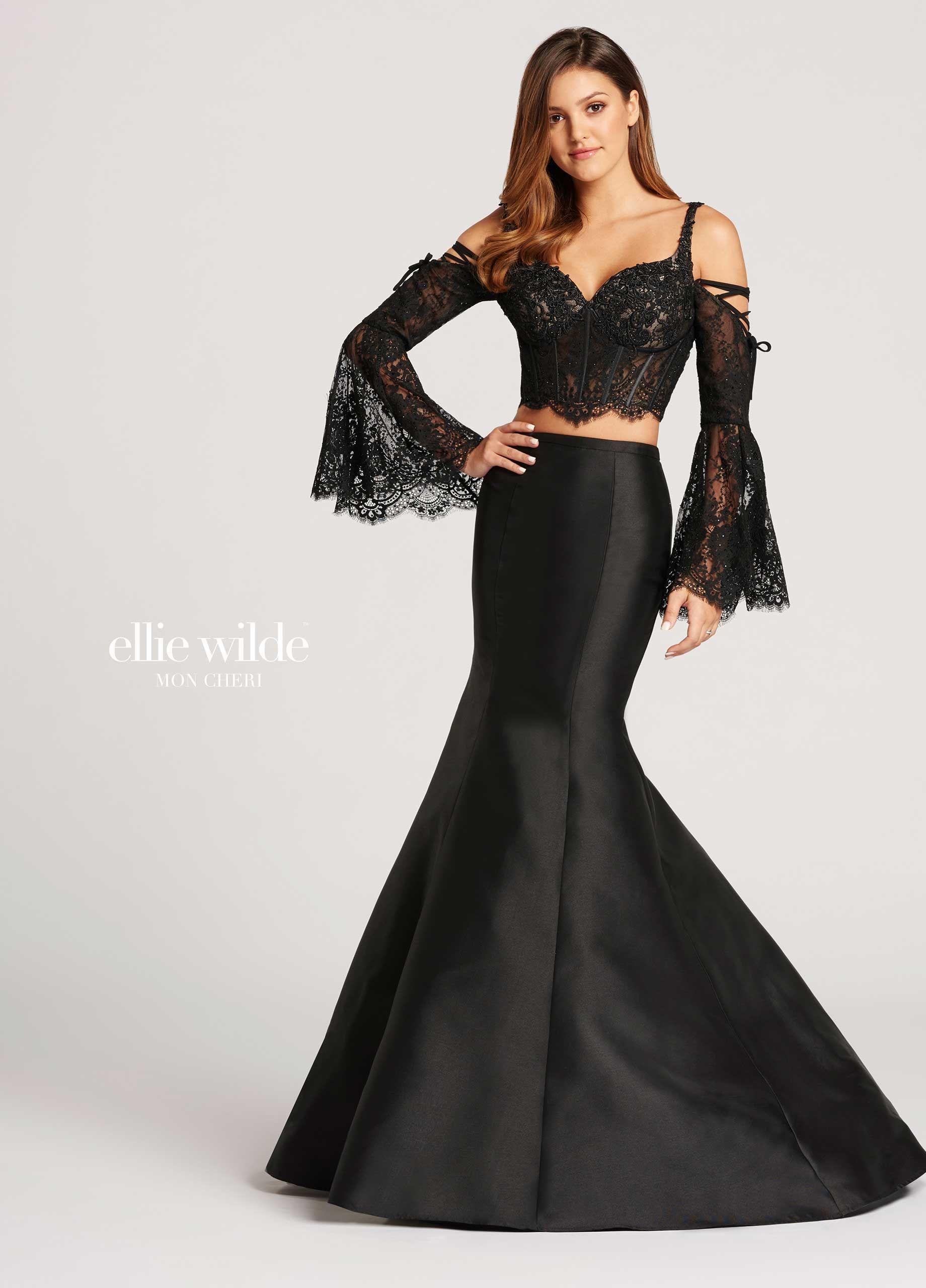Piece longsleeve lace u mikado trumpet prom dress ew in