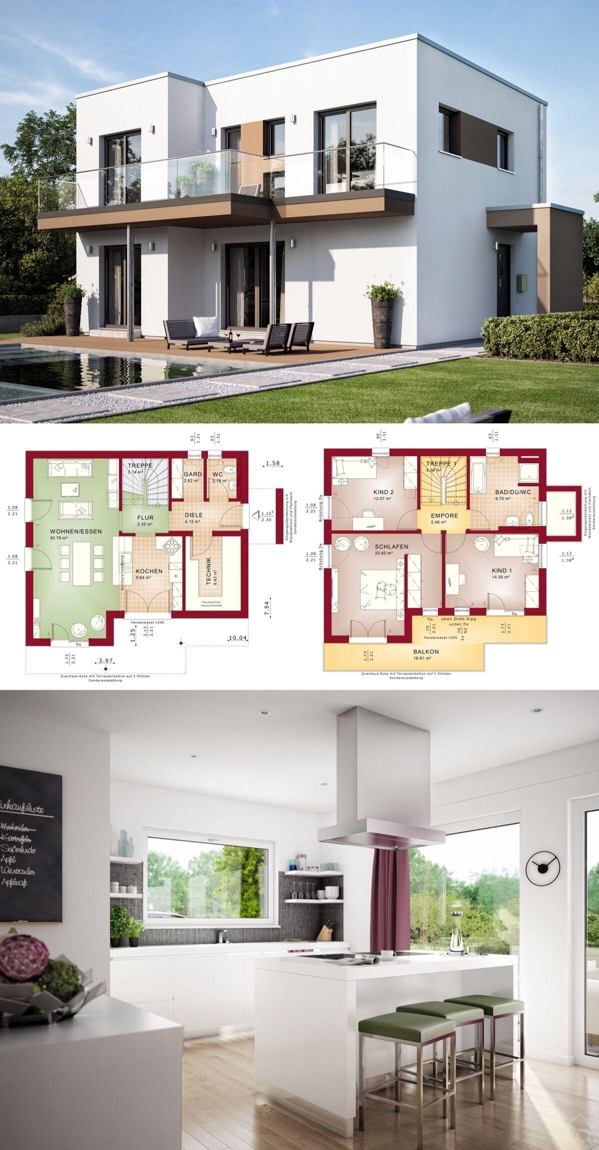 fertighaus stadtvilla modern mit flachdach architektur im
