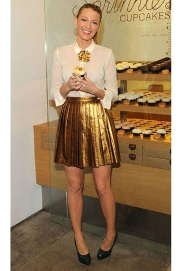 d7c5527f4 Skirt: gold metallic blake lively shoes shirt | Strong. Genuine ...