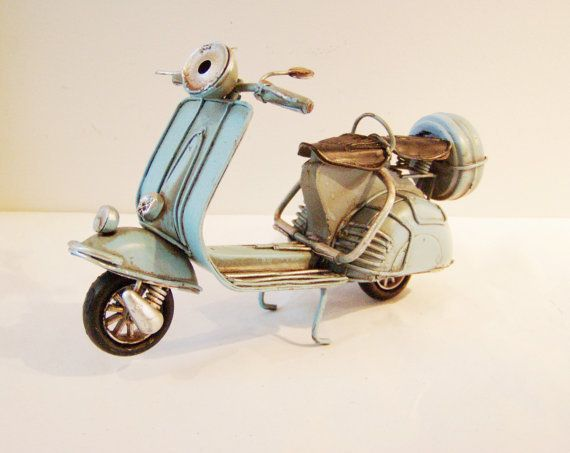 Sky blue Vespa bike, collectible retro miniature,  from Arktos Collectibles by DaWanda.com