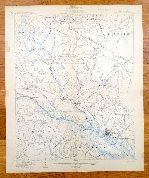 Antique Washington North Carolina 1905 Us Geological Survey