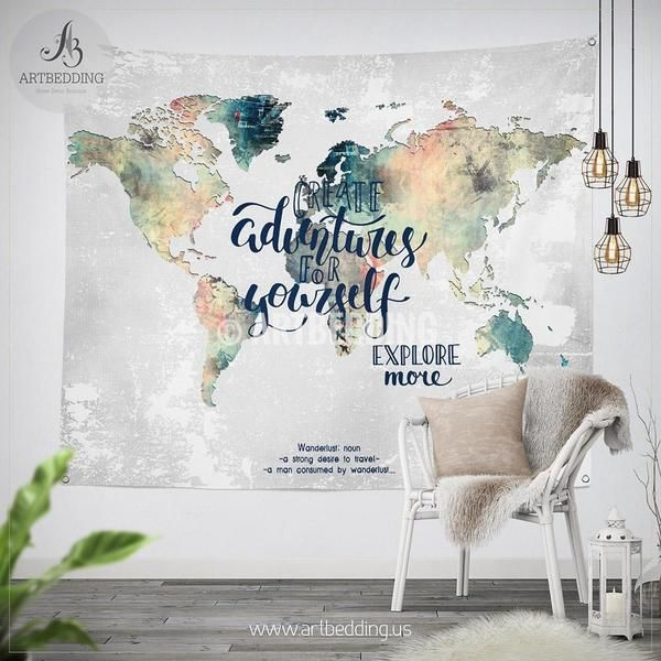 Adventure wall tapestry world map watercolor wall hanging grunge adventure wall tapestry world map watercolor wall hanging grunge wanderlust world map wall tapestries bohemian wall decor gumiabroncs Gallery