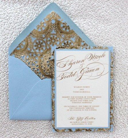 Lightblueandgoldweddinginvitationbyalexandrialindoonetsy seriously in love with this light blue and gold wedding invitation design stopboris Image collections