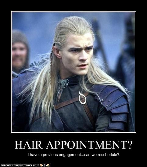 I'm not big on the Legolas hair jokes, but this one is ...