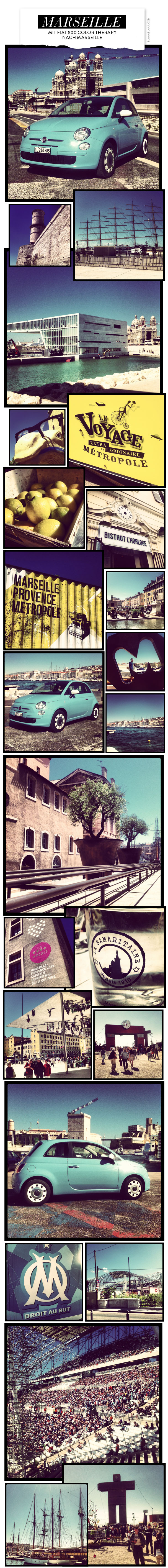 Mit Fiat 500 Color Therapy nach Marseille