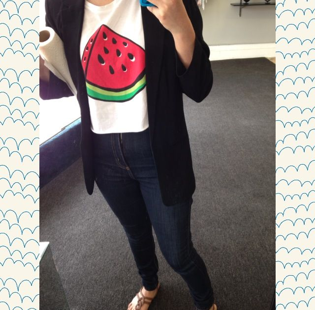 eec52d904dc47  Watermelon crop muscle shirt from  h m  Blazer from  Forever21  Jeans from   ReviveBoutique in  Berwyn