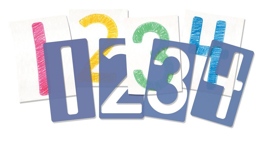 Roylco Big Number Stencils Set of 10 5 x 9 Inches