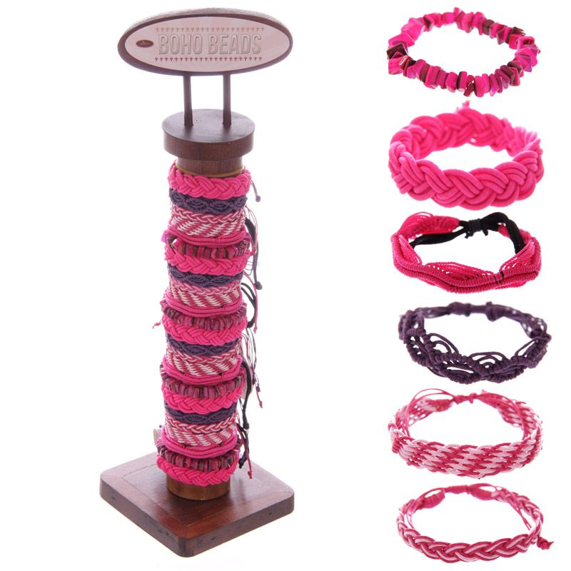 96 Pc Shades of Pink Woven Bracelets with Display Stand - 11083 | Puckator