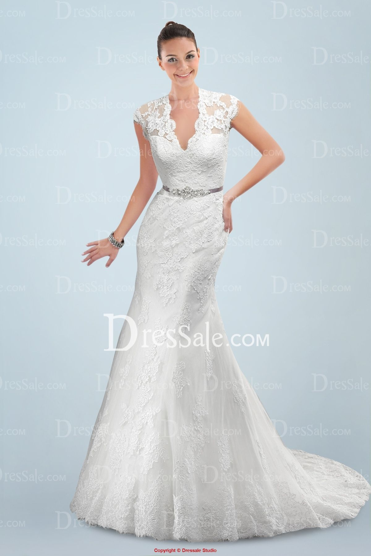 Ravishing Queen Anne Neckline Sheath Wedding Dress with Delicate ...