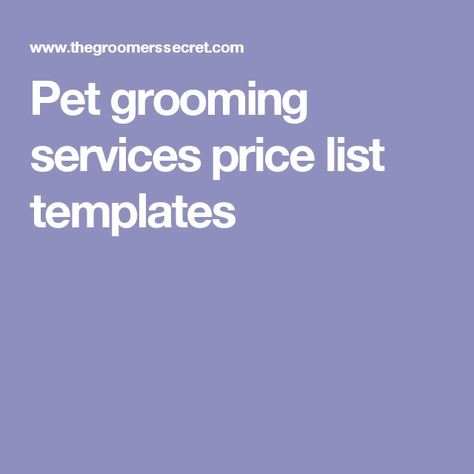 pet grooming services price list templates pet service pricing