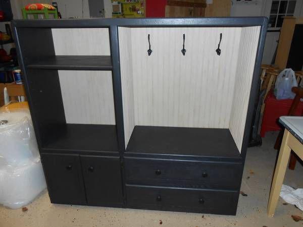 Mudroom Storage Using Repurposed Furniture Entryway Or