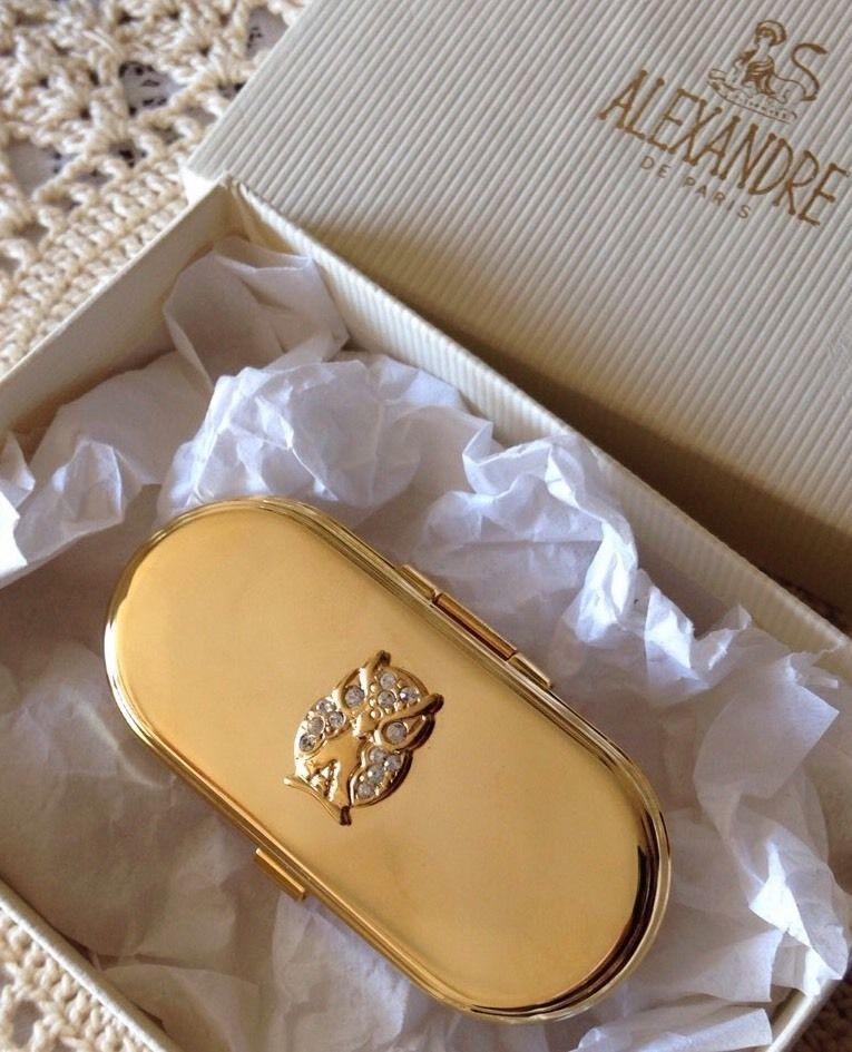 ALEXANDRE DE PARIS GOLD TONE OWL LIPSTICK HOLDER & MIRROR VINTAGE STYLE BOXED | eBay