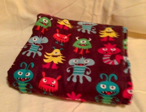 Monsters bright colorful Baby Boy Receiving Blanket Double sided | bitspeaces - Children's on ArtFire