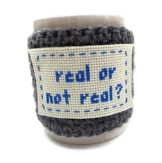 Hunger Games - Coffee Cozy Crochet - real or not real - Grey and Blue