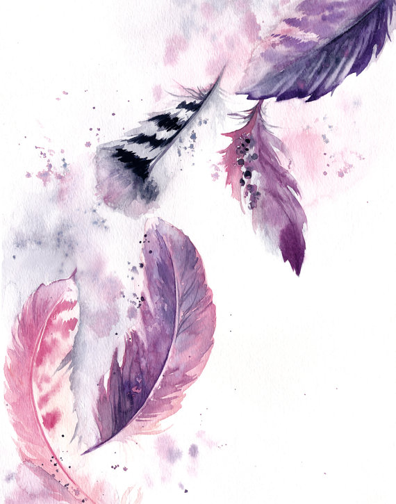 Purple Pink Feathers Fine Art Print Feathers Watercolor Painting Art Modern Feathers Wall Art Prin Feather Painting Feather Wall Art Feather Art