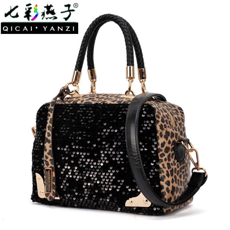 84ce84f684 QICAI.YANZI 2017 Brand Designer Womens Black Sequins Leopard Style ...