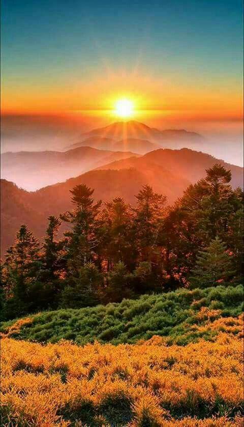 Mountain Sunrise Sunset Nature Beautiful Sunset Scenery