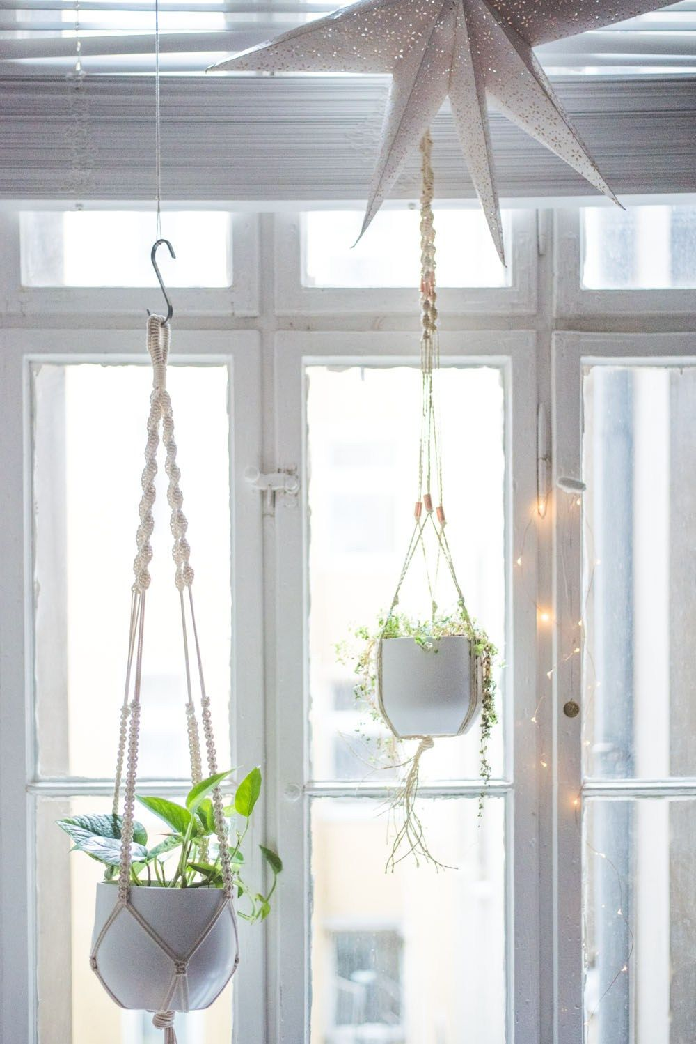 easy home diy macrame plant hanger tutorial diy basteln selbermachen pinterest pyssel. Black Bedroom Furniture Sets. Home Design Ideas