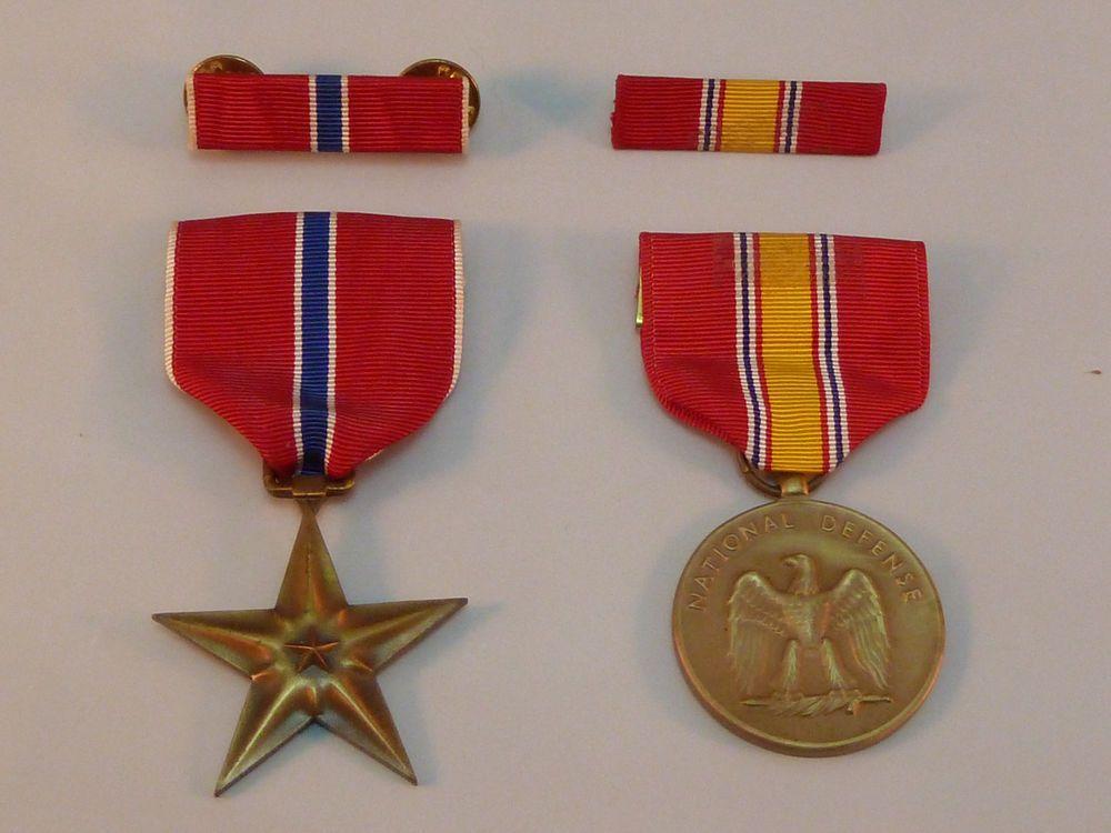 Vintage US Military Medals & Bars Bronze Star & National
