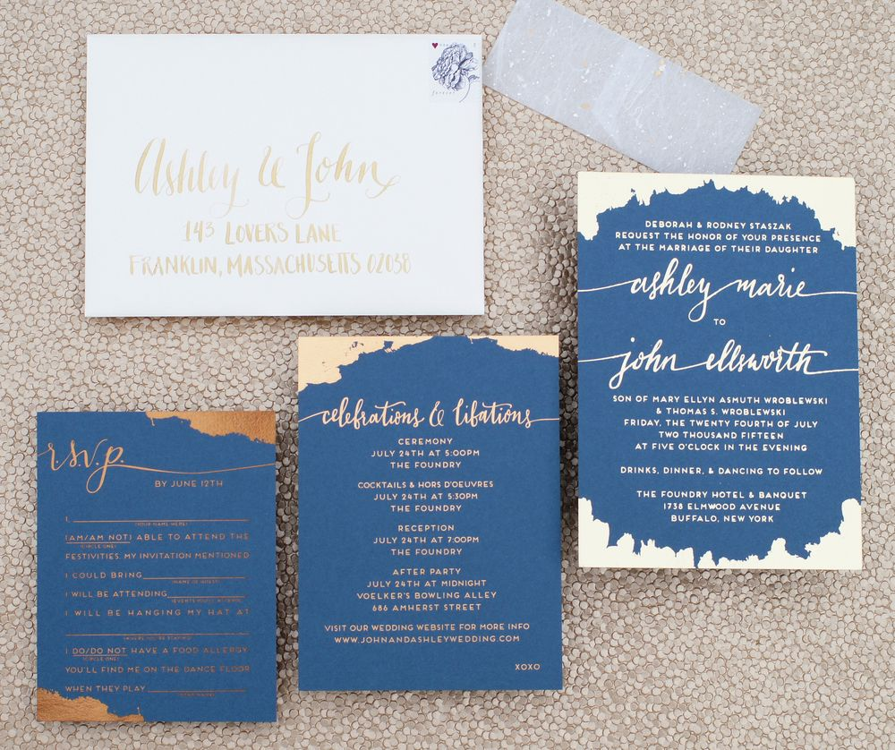 Dark Blue And Mixed Metallics Wedding Invitation With Bronze, Copper, And  Gold Foils,