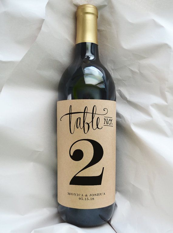 Table Number Wine Bottle Label Wedding Custom Marker Kraft Pack Of 4 Labels