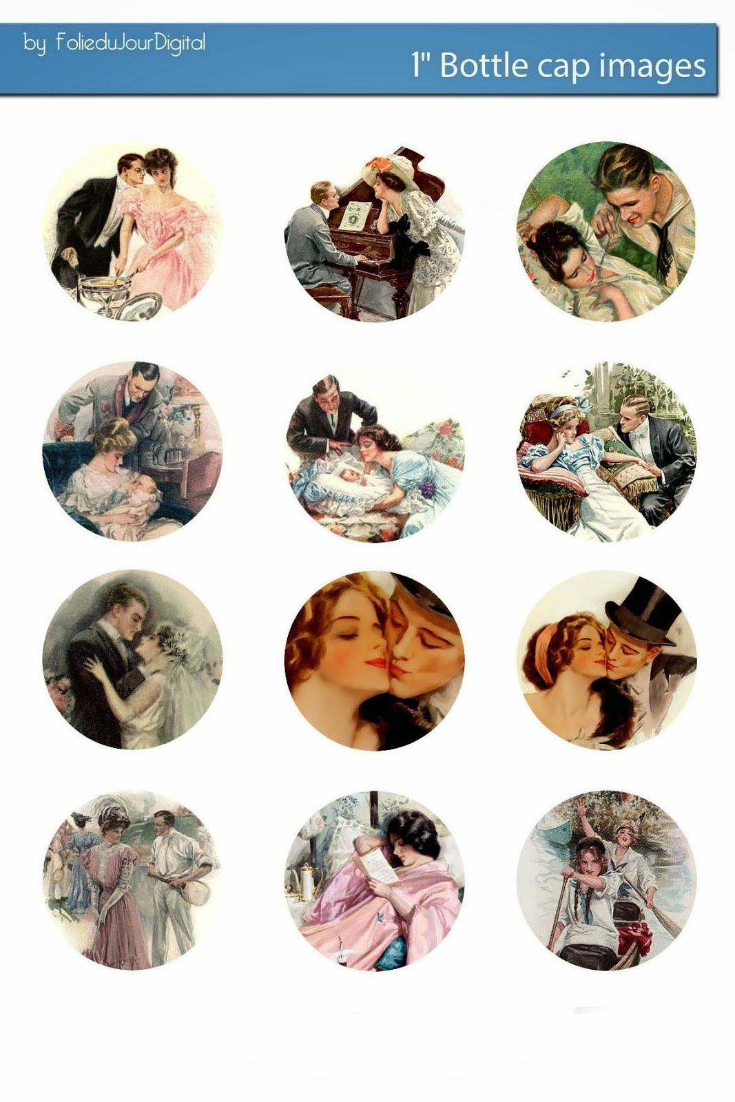 Free Bottle Cap Images: Harrison Fisher free bottle cap images template - vintage romantic couples love