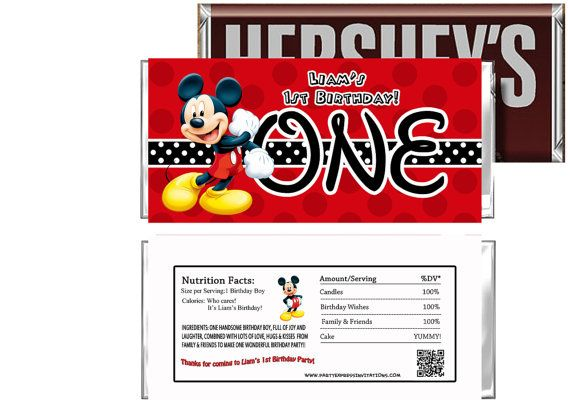 Disney Mickey Mouse Birthday Candy Bar Wrappers by Mendozashoppe