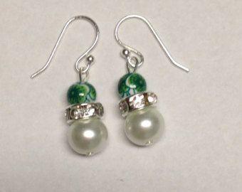 Pearl Earrings Homemade Jewelry Dangle Green